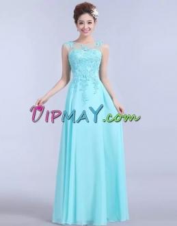Affordable Aqua Long Illusion Chiffon Prom Dress under 100