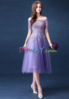 Lavender Short Sleeves Off Shoulder Lace Knee Length Homecoming Dress Online