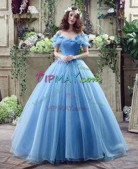 Sophisticated Sky Blue Organza Brush Train Sweet 16 Dress with Butterflies