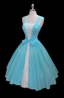 Cute Vintage 1950s Light Blue Short Prom Dress with Lace and Straps