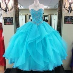 Aqua Blue Quinceanera Dress Sweetheart Organza Ruffles Beaded Top Sweet 16 Dress